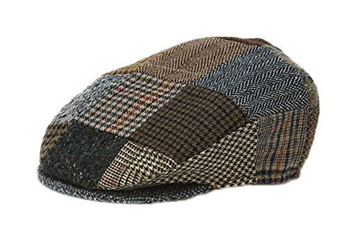 Hanna Hats Men's Donegal Tweed Vintage Cap Patchwork Toning XL