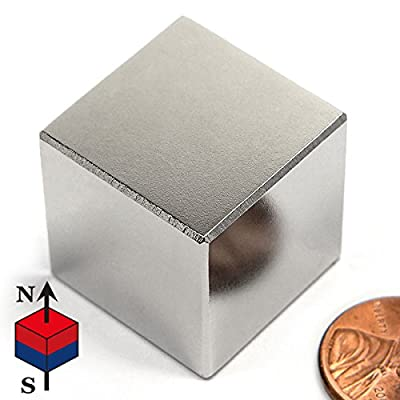 "CMS Magnetics N52 1"" Cube Neodymium Magnet, One Inch Cube Rare Earth Magnet"