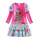 VIKITA 2018 Little Girls Cotton Flower Print Polka Dot Long Sleeve Dress 1-8 Years L191ROSERED 3T