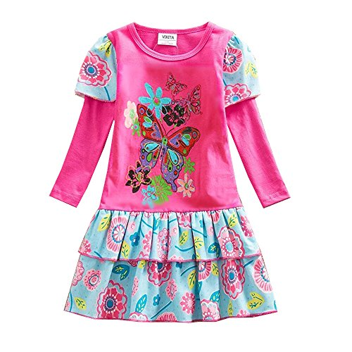 VIKITA Toddler Girl Animal Cotton Long Sleeve Dress Baby Girls Winter Casual Dresses 2-8 Years (5T, L191FUCH) -