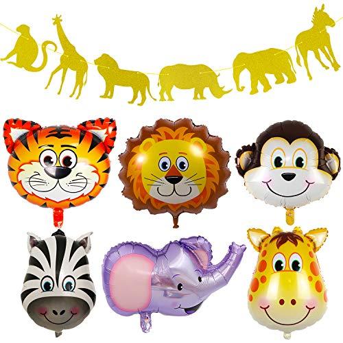 Jungle Safari Animals Balloon, Gold Glitter Zoo Banner 6 Pcs 22