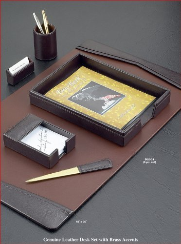 6-Piece Leather Desk Set, Brown by Bey-Berk