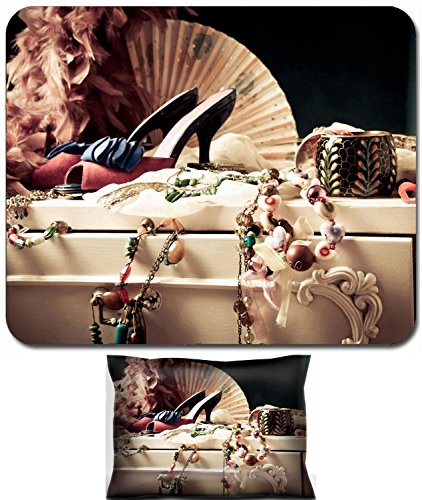 Price comparison product image Liili Mouse Wrist Rest and Small Mousepad Set, 2pc Wrist Support womans dressing table with lot of fashion accessories IMAGE ID 11687755