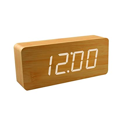 Smart de madera reloj despertador digital, shouldbuy 20 cm, control de sonido con tiempo