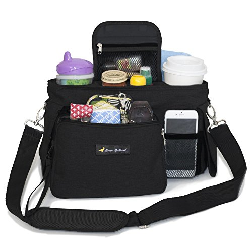 STROLLER ORGANIZER with Wristlet Wallet - Stylish Storage Fits All Strollers - Holds Phone, Keys, Snacks, Toys, Wipes and Baby Items - 2 Deep Cup Holders - Best Stroller Accessories for Moms on the Go