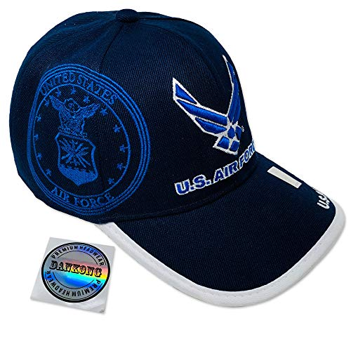 (DANKONG Air Force Hat -Official Licensed US Military 3D Embroidered Baseball Cap with Size Adjustable Hoop and Loop Closure for Men and Women - U.S. Air Force - Navy Blue )