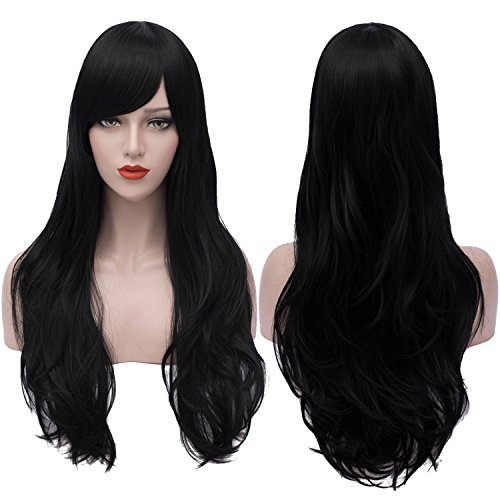 Price comparison product image Black Wigs Long Wavy Curly Cosplay Wig Halloween Costumes for Women with Wig Cap 28 Inch BU124BK
