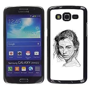 Samsung Galaxy Grand 2 , JackGot - Impreso colorido protector duro espalda Funda piel de Shell (Chica Negro Pen bosquejo blanco del dibujo del arte)