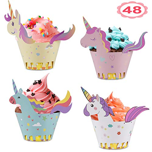 - Unicorn Cupcake Wrappers + Toppers, Cute Cake Decorations for Girl Birthday Party Supplies, Baby Shower 4 Styles Set of 48- By Vajeme