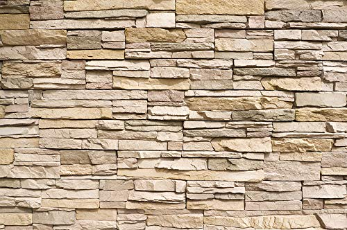 (GREAT ART Wall Mural Stone Optic- Stones Style Wall Decoration Stone Wallpaper Wall-Cover Stonewall Slate Sandstone Stonewall (132.3 x 93.7 Inch))