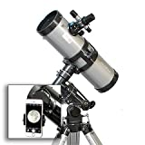 AstroVenture 4.5'' Reflector Telescope With Universal Smartphone Camera Adapter (Silver)