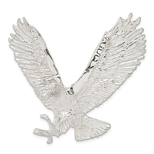 (925 Sterling Silver Textured Eagle Necklace Chain Slide Pendant Charm Man Fine Jewelry Gift For Dad Mens For Him)