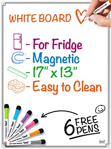Magnetic Whiteboard for Refrigerator - Dry Erase Board - Large Sheet for Fridge with No Staining Technology - Best for Smart Family Planners - Free Markers Included ()
