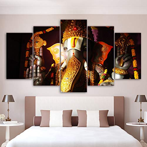 HIOJDWA Paintings Wall Art Pictures Home Living Room Decor Ganesha Poster Frame 5 Piece Elephant Ganesh India Religion Lord Balaji Canvas Painting ()