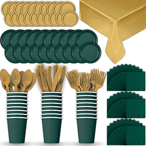 Paper Tableware Set for 24 - Hunter Green & Gold - Dinner and Dessert Plates, Cups, Napkins, Cutlery (Spoons, Forks, Knives), and Tablecloths - Full Two-Tone Party Supplies Pack