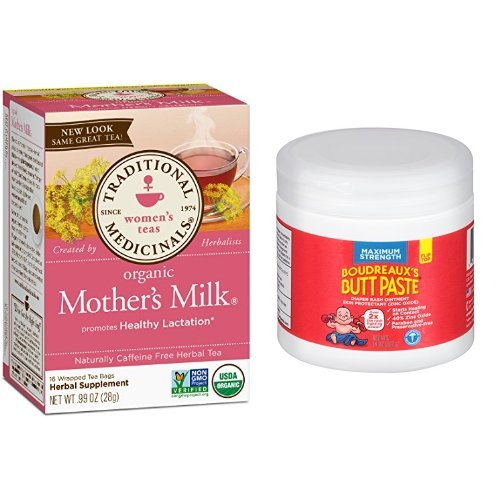Traditional Medicinals Organic Mother's Milk Tea, 16 Tea Bags (Pack of 6) &Boudreaux's Butt Paste Diaper Rash Ointment - Maximum Strength - Paraben and Preservative-Free - 14 Ounce by
