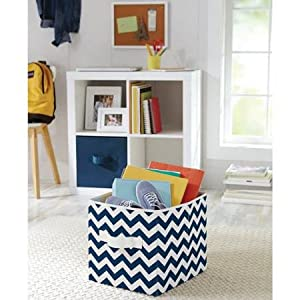 Better Homes And Gardens Collapsible Fabric Storage Cube Set Of 2 Navy Chevron