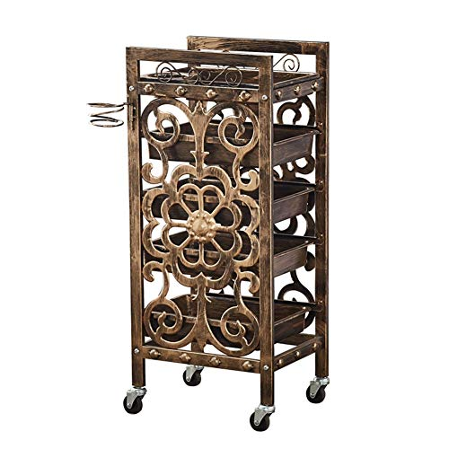 Salon Trolley YXX- 5 Tiers Gold Hairdressing Beauty Tool Cart with Drawers & Wheels, Barber Makeup Storage Tray Hair Roller Trolley