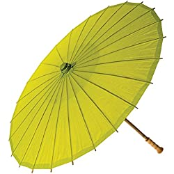 Luna Bazaar Paper Parasol (32-Inch, Chartreuse Green) - Chinese/Japanese Paper Umbrella - For Weddings and Personal Sun Protection