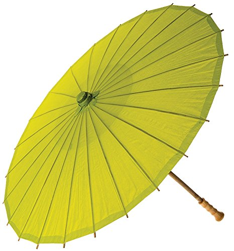 Luna Bazaar Paper Parasol 20Inch Chartreuse Green  Chinese/Japanese Paper Umbrella  For Children Decorative Use