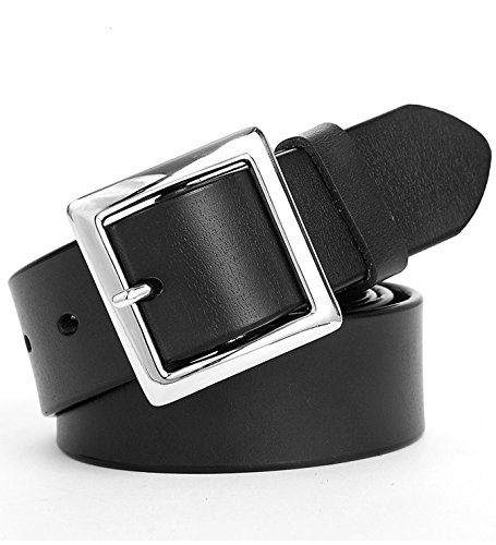 Ayli Women's Jean Belt, Square Buckle Handcrafted Genuine Leather Belt, Free Gift Box, Black, Fits Waist 26