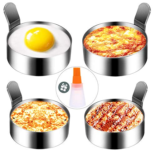 LATOW Egg Ring, 3.0 Inch & 3.5 Inch Stainless Steel Non Stick Omelet Mold Cooking Tool,Pack of 4 Egg Cooking Pancake Rings with 1 Free Oil Bottle Brush(2 Size Pancake Mold)