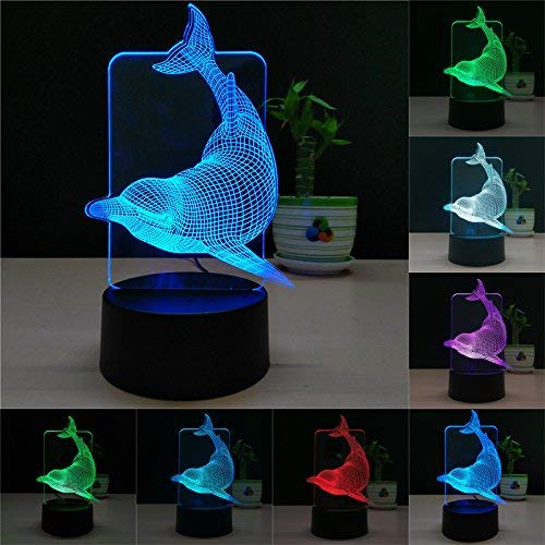 (TTqp 3D LED Desk Table Dolphin Night Light Lamp 7 Color Touch Lamp Kiddie Kids Children Family Holiday Gift Home Office Childrenroom Theme Decoration)