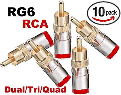 Emerson RG-6 Dual/Tri/Quad RCA Compression Connectors Red - (10 Pack)
