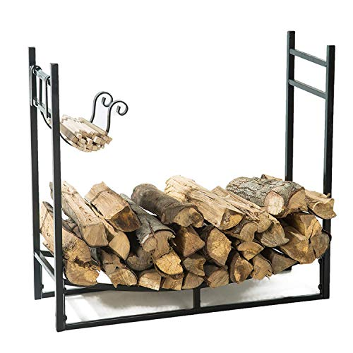 r 3 Feet Firewood Log Rack with Kindling Holder, Fireplace Wood Storage, 30 Inch Tall ()