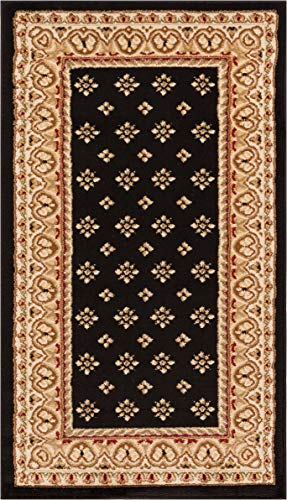 Noble Palace Black French European Formal Traditional Area Rug 2x4 ( 2'3