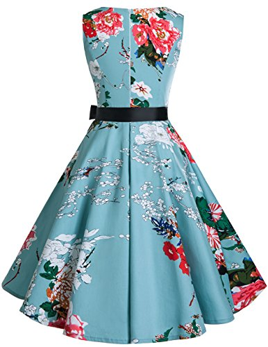 Swing Audrey Bridesmay Hepburn Women's Vintage V Floral Classy 1950s Dress Rockabilly Neck wx7z17qOnS