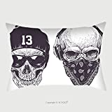 Custom Satin Pillowcase Protector Two Dotwork Skulls With Modern Street Style Attributes Vector Art 281407961 Pillow Case Covers Decorative