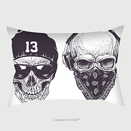 Custom Satin Pillowcase Protector Two Dotwork Skulls With Modern Street Style Attributes Vector Art 281407961 Pillow Case Covers Decorative by chaoran