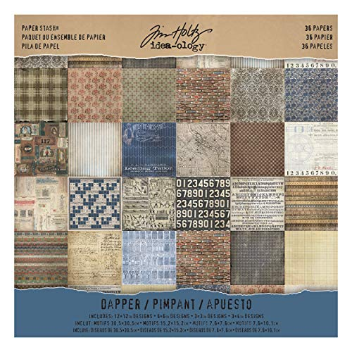 (Tim Holtz Idea-ology Paper Stash, Dapper, 36 Sheets of 12 x 12 Inch Double-sided Cardstock Papers in Brown, Beige, Brown)