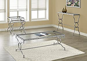 Monarch Specialties I 3324 Silver Metal With Tempered Glass Coffee Table