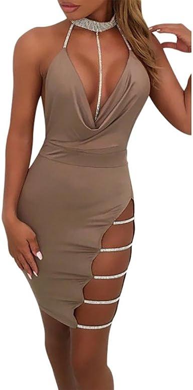Vestidos Mujer Tallas GrandesMujer Sexy Cuello en V Profundo Vestido sin Espalda Gargantilla Slit Lentejuelas Bodycon Mini Vestido Clubwear: Amazon.es: Ropa y accesorios