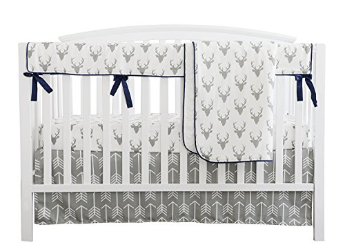 Baby Boy Crib Bedding White Grey Woodland Arrow Antlers Deer Head Minky Blanket Navy Crib Sheet Deer Buck Crib Rail Bedding Set (Grey Arrow Deer Head, 4 pieces set)