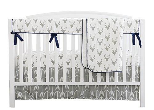 Baby Boy Crib Bedding White Grey Woodland Arrow Antlers Deer Head Minky Blanket Navy Crib Sheet Deer Buck Crib Rail Bedding Set (Grey Arrow Deer Head, 4 pieces set) from Sahaler