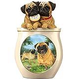 Linda Picken Pug Art Ceramic Cookie Jar With Sculpted Pugs On Lid by The Bradford Exchange