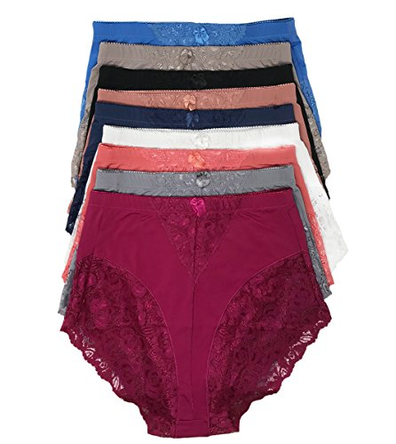 Peachy Panty Women's 6 Pack High Waist Cool Feel Brief Underwear Panties S-5xl (Lace Decorated Girdle, Medium)