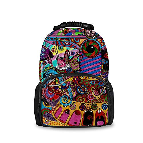 Purse Handbag Traveler Quilted (OKAYDECOR colorful Trippy Art School Backpack Book Bags Boys Girls)