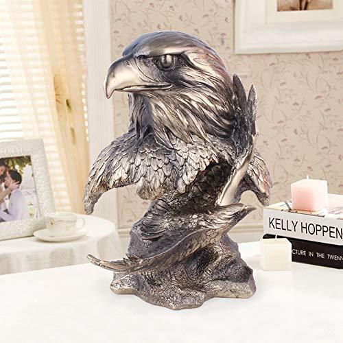 DUDU Eagle Cabeza Escultura Resina Hogar Interior Animal Estatua Sala De Estar Oficina Decoración Artesanía,Brass