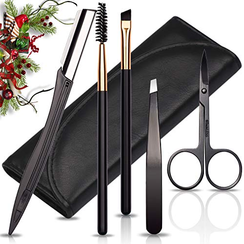 Eyebrow Tweezers Scissors and Razors Set - KASI 5pcs Stainless Steel Eyebrow Trimmer Shaver Shaper and Angled & Spoolie Brows Brushes Eyebrow Grooming Kit for Women and Men as Christmas Gift - Black