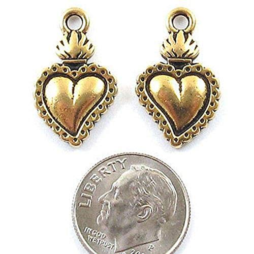 (Unique Selection Charms Gold Flaming Heart Charms, TierraCast Pewter Milagro)