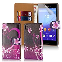 32nd Design Book Leather Wallet Case Cover for Sony Xperia M4 Aqua cell phone - Love Heart