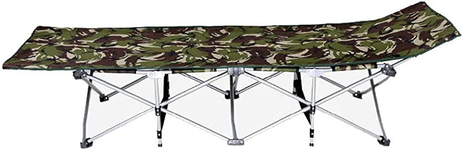 BGROEST-hm Siesta Bed Folding Chair Folding Camping Cot Portable Camping Bed for Adults Kids Double Layer 600D Fabric Thicken Tubes Side Pocket Sun Lounger with Carry Bag for Camping Home Office