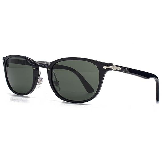 646ca162e7 Persol Classic Metal Bridge Sunglasses in Black PO3127S 95 31 52 52 Green   Amazon.co.uk  Clothing