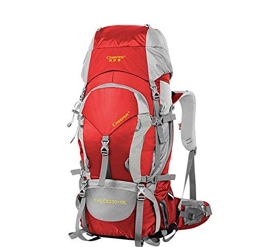 60L al aire libre de senderismo mochila Pack mochila impermeable bandoleras para hombres y mujeres a pie Pack , black 60 litres red 60 litres