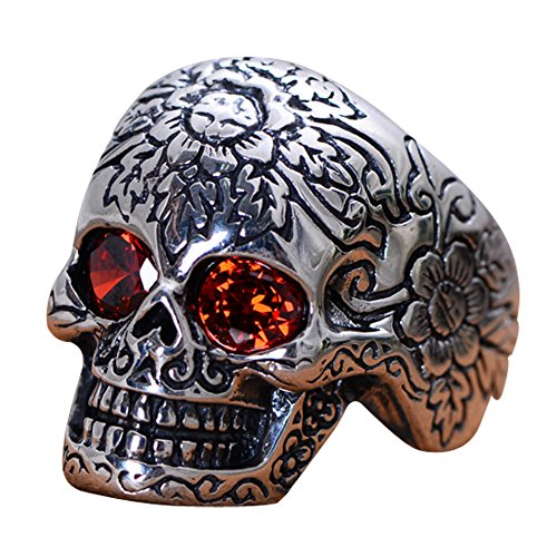 Jewelry Heavy Sterling Silver Skull Ring with Red Cubic Zircon (8) (Heavy Jade Ring)