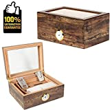 COMMODA Desktop Cigar Humidor Tempered Glasstop Front Mounted Hygrometer Humidifier Cedar Lined Storage Box Spanish Cedar Tray Divider Holds 20-50 Cigars Free Cutter Rack